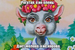 Рогатая, а не олень. Дает молоко, а не корова.