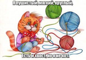 Я пушистый. Мягкий, круглый, Есть и хвост, но я не кот. Клубок.