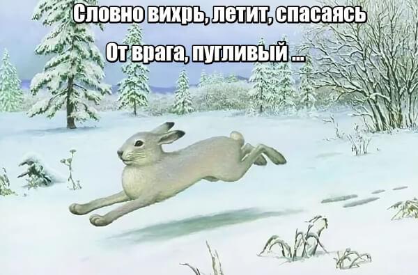 Словно вихрь, летит, спасаясь От врага, пугливый заяц.