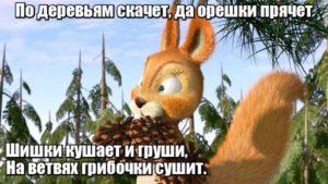 По деревьям скачет. Да орешки прячет Шишки кушает и груши, На ветвях грибочки сушит. Белка.