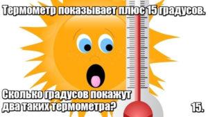 Термометр показывает плюс 15 градусов. Сколько градусов покажут два таких термометра? 15.