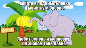 Хоботом поднимет ловко И монетку, и бревно. Любит зелень и морковку, Он знаком тебе давно. Слон.
