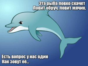 Эта рыба ловко скачет, ловит обруч, ловит мячик. Есть вопрос у нас один: как зовут её...Дельфин.