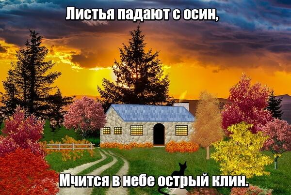 Листья падают с осин, мчится в небе острый клин. Осень