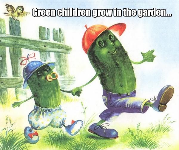 Green children grow in the garden... Растут на грядке зелёные ребятки... Огурцы.