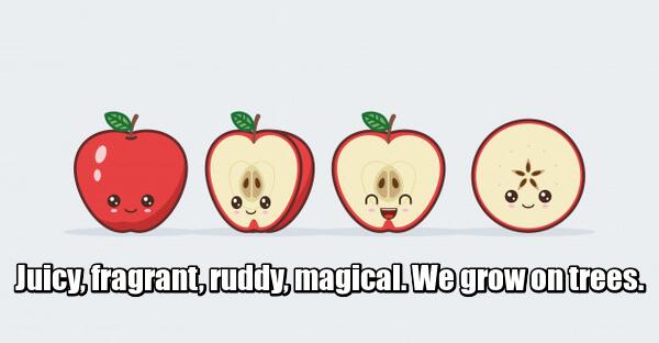 Juicy, fragrant, ruddy, magical. We grow on trees. Сочные, душистые, румяные, волшебные. На деревьях мы растем. Яблоко.