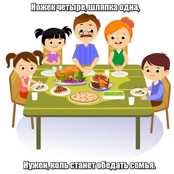 Ножек четыре, Шляпка одна, Нужен, коль станет Обедать семья. Стол
