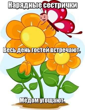 Нарядные сестрички Весь день гостей встречают, Мёдом угощают. Цветы.