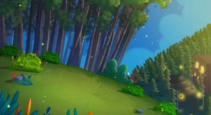 Темный лес со светлячками. Какие загадки про лес любят дети.
