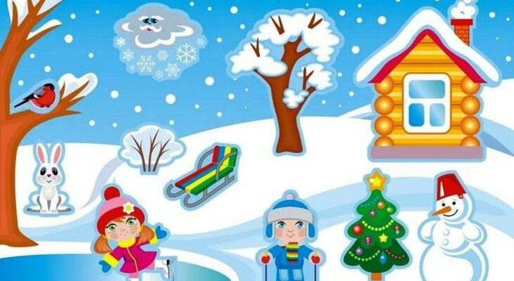 Зимний пейзаж дети на лыжах. Интересные загадки про лыжи.