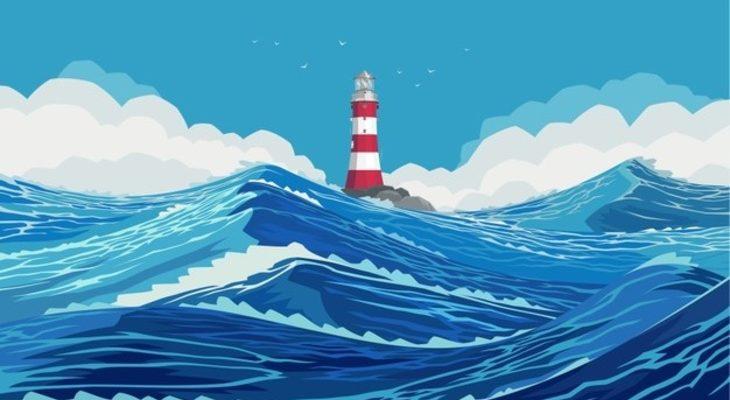 Маяк на море. Детские загадки про море.