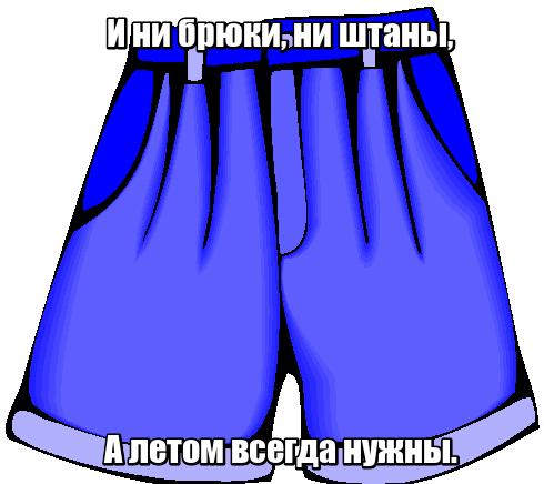 И ни брюки, ни штаны, А летом всегда нужны. Шорты.