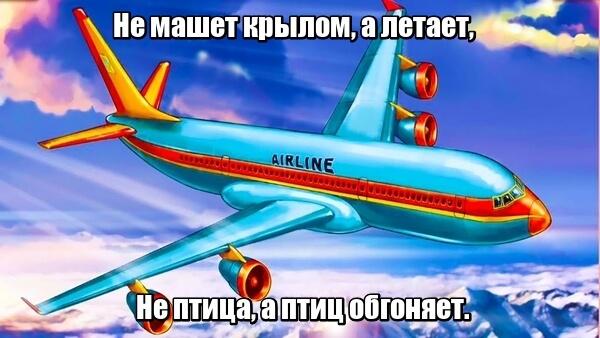 Не машет крылом, а летает, Не птица, а птиц обгоняет. Самолет.