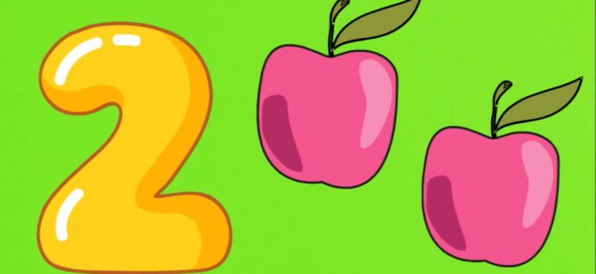 Два яблочка на рисунке. Развивающие загадки про цифру два.