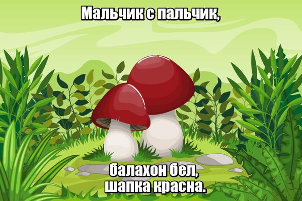 Мальчик с пальчик, балахон бел, шапка красна. Гриб.