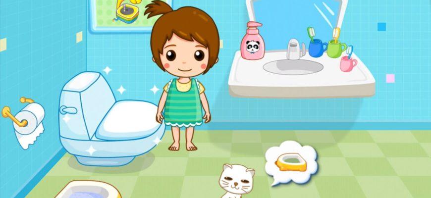 Девочка возле унитаза. Какие есть загадки про туалет для детей