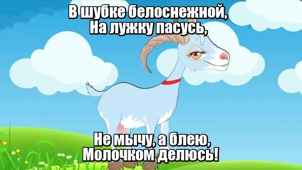 В шубке белоснежной, На лужку пасусь, Не мычу, а блею, Молочком делюсь! Коза