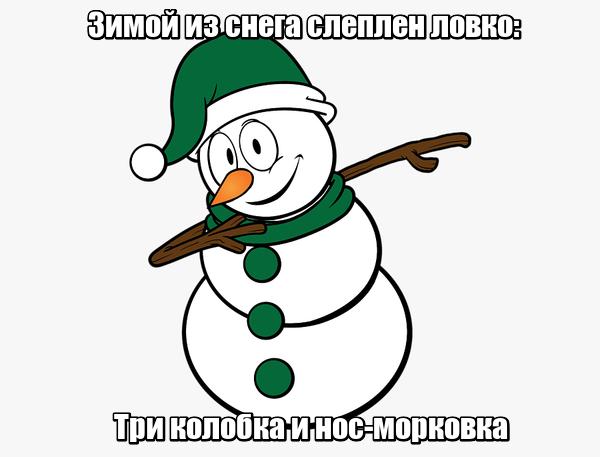 Зимой из снега слеплен ловко: Три колобка и нос-морковка. Снеговик