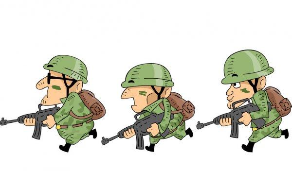 Три солдата. Интересные загадки про армию.