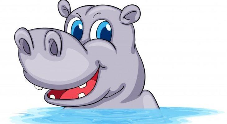 Милый бегемотик в воде. Какие загадки понравятся детям.