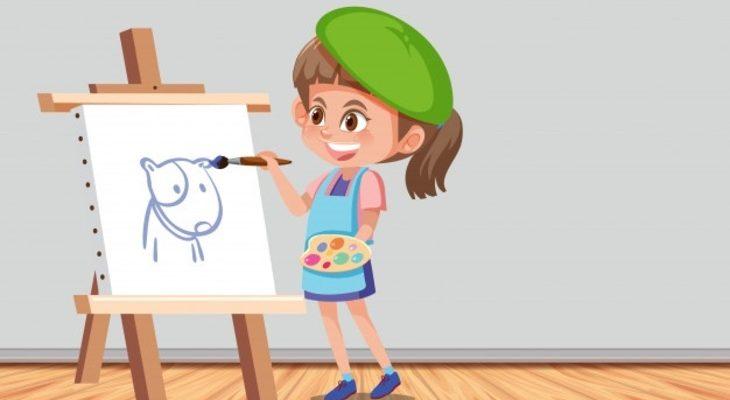 Девочка рисует рисунок. Загадки про картину для детей.