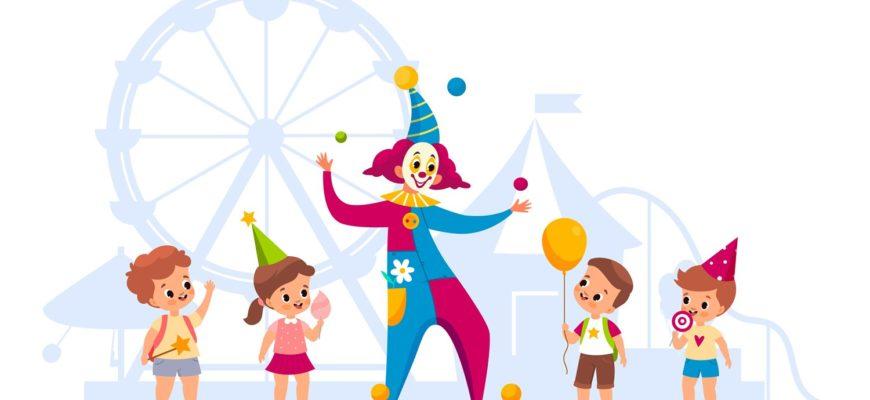 Дети в цирке. Интересные загадки про клоуна.