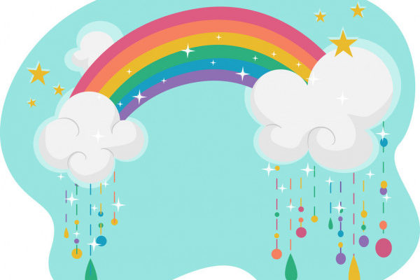 Радуга на лугу. Детские головоломки про радугу.
