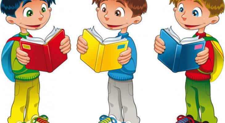 Школьные друзья с книгами. Загадка про имя мальчика.