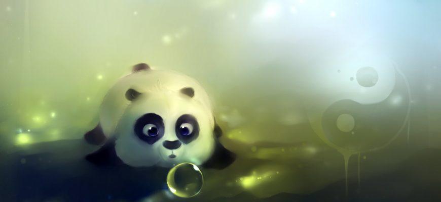 Панда с пузырьком. Загадки про панду.