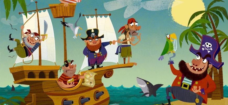 Рисунок с кораблем и пиратами. Какие загадки будут интересны детям.