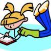 Девочка пишет. Отгадывайте загадки про ручку.