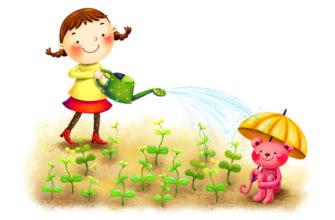 Девочка поливает маленький огород. Прикольные загадки про сад.