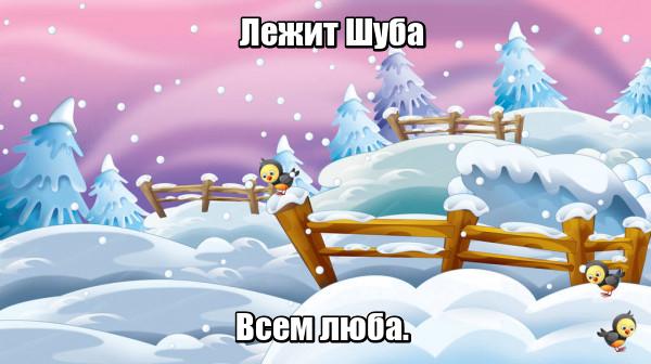 Лежит Шуба Всем люба. Снег.