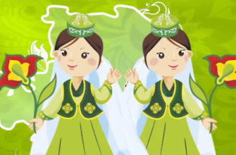 Подружки в народной одежде. Загадки на татарском.