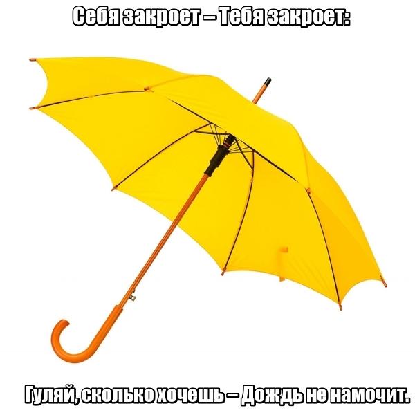 Себя закроет – Тебя закроет: Гуляй, сколько хочешь – Дождь не намочит. Зонт.