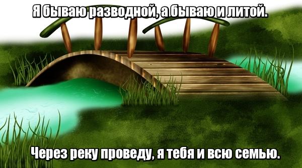 Я бываю разводной, А бываю и литой. Через реку проведу, Я тебя и всю семью. Мост
